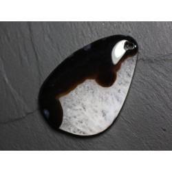 Pendentif en Pierre - Agate et Quartz Noir et Blanc Goutte 60mm avec imperfection N34 - 4558550085825