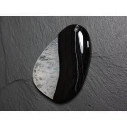 Pendentif en Pierre - Agate et Quartz Noir et Blanc Goutte 58mm avec imperfection N39 - 4558550085870