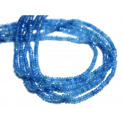30pc - Perles de Pierre - Jade Rondelles Facettées 4x2mm Bleu Azur - 4558550084408