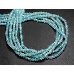 30pc - Perles de Pierre - Jade Rondelles Facettées 4x2mm Bleu Ciel Turquoise - 4558550084415