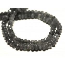 30pc - Perles de Pierre - Jade Rondelles Facettées 4x2mm Gris Souris - 4558550084422