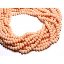 Fil 39cm 90pc env - Perles Verre opaque - Rondelles Facettées 6x4.5mm Rose Saumon Pêche - 4558550084842