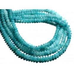 30pc - Perles de Pierre - Jade Rondelles 5x3mm Bleu Turquoise Mat - 4558550085627