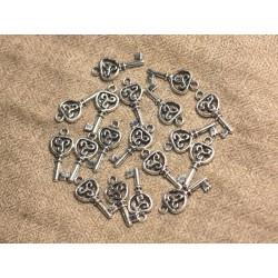 10pc - Breloques Pendentifs Métal Argenté Rhodium Clef Celtique 21mm - 4558550012302