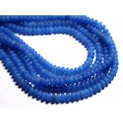 30pc - Perles de Pierre - Jade Rondelles 5x3mm Bleu Roi Mat - 4558550085610