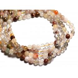 10pc - Perles de Pierre - Quartz multicolore et rutile Boules 6mm - 4558550085542