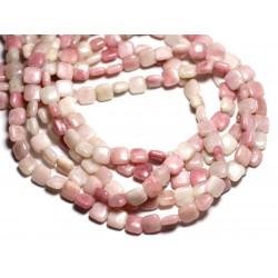 8pc - Perles de Pierre - Opale Rose Carrés 8mm - 4558550084576
