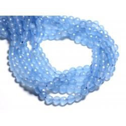 10pc - Perles de Pierre - Jade Boules Facettées 8mm Bleu clair - 4558550084767