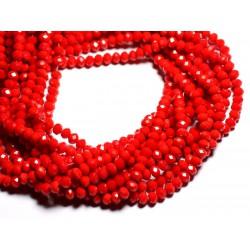 Fil 39cm 90pc env - Perles Verre opaque - Rondelles Facettées 6x4.5mm Rouge vif - 4558550084859