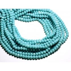 Fil 39cm 90pc env - Perles Verre opaque - Rondelles Facettées 6x4.5mm Bleu clair Turquoise - 4558550084903