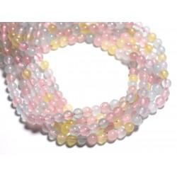 20pc - Perles de Pierre - Jade Boules 6mm Pastel Multicolore Bleu Rose Jaune - 4558550084750