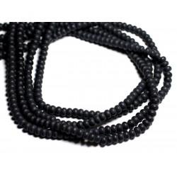 20pc - Perles de Pierre - Onyx Noir Mat Rondelles 6x4mm - 4558550084378