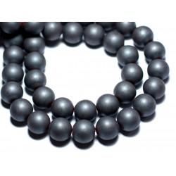 30pc - Perles de Pierre - Hématite Mat sablé givré Boules 4mm - 4558550015723