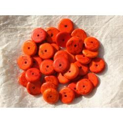 20pc - Perles Turquoise synthèse Rondelles 12 x 2-3mm Orange - 4558550016300