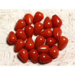 4pc - Perles de Pierre - Jade Gouttes 14x10mm Rouge Orange 4558550014115