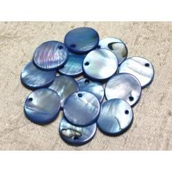 10pc - Perles Breloques Pendentifs Nacre Ronds 20mm Bleu 4558550000729
