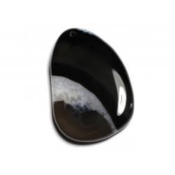 1pc - Pendentif en Pierre - Agate et Quartz Noir et Blanc Goutte 57x40mm n°13 - 4558550040091