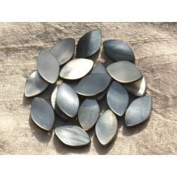 2pc - Perles Nacre noire naturelle - Marquises 17x10mm 4558550015853