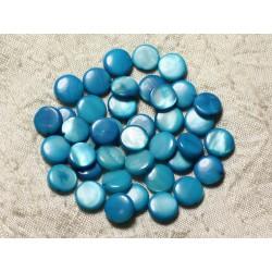 20pc - Perles Nacre Palets 10mm Bleu Turquoise 4558550005052