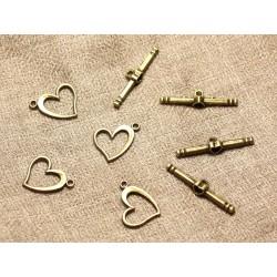 50pc - Fermoirs T Toogle Métal Bronze Qualité Coeurs 17mm 4558550001146
