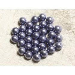 10pc - Perles Nacre Boules 8mm ref C6 Bleu Gris Horizon 4558550004161