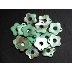 10pc - Perles Breloques Pendentifs Nacre Fleurs 19mm Vert 4558550014566