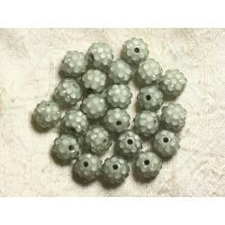 5pc - Perles Shamballas Résine 12x10mm Gris et Transparent 4558550004086