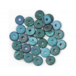 20pc - Perles Donuts Bois de Coco Rondelles 12mm Bleu Vert 4558550001306