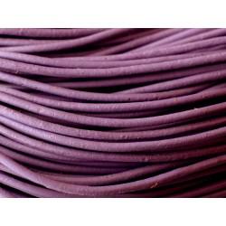 5 mètres - Cordon Cuir Véritable Violet Mauve 2mm 4558550001139