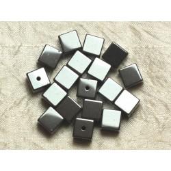 10pc - Perles de Pierre - Hématite Cubes 10mm 4558550024527