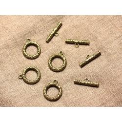 5pc - Fermoirs Toogle T Métal Bronze Rond 17mm 4558550001177