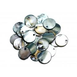 10pc - Breloques Pendentifs Nacre Ronds 20mm Noir Gris Beige - 4558550082725