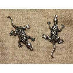 Pendentif Breloque Métal Argenté Rhodium - Lézard Gecko 50mm 4558550024589