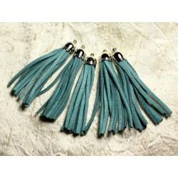 3pc - Pompon suédine Bleu Vert Turquoise et Métal Argenté 68mm 4558550009715