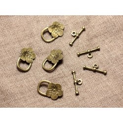 10pc - Fermoirs Toogle T Métal Bronze Qualité Fleurs 21mm 4558550003799