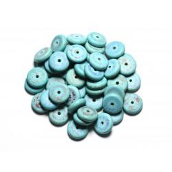 20pc - Perles de Pierre - Turquoise synthèse Rondelles 12mm Bleu Turquoise - 4558550082503