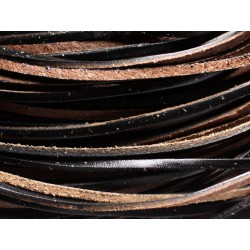 4 mètres - Cordon Lanière Cuir Véritable 3x2mm Noir et Beige - 4558550082480