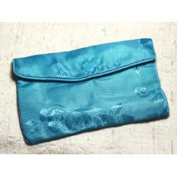 1pc - Sac Pochette Cadeaux Bijoux Tissu Fleurs 12x8cm Bleu Turquoise - 4558550082435