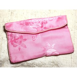 1pc - Sac Pochette Cadeaux Bijoux Tissu Fleurs 12x8cm Rose clair - 4558550082473