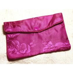 1pc - Sac Pochette Cadeaux Bijoux Tissu Fleurs 12x8cm Violet Rose - 4558550082442