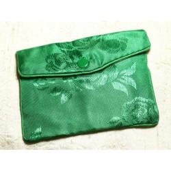 1pc - Sac Pochette Cadeaux Bijoux Tissu Fleurs 12x8cm Vert - 4558550082459