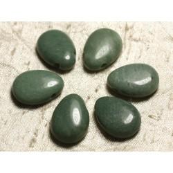 Pendentif Pierre semi précieuse - Jade Vert Amande Goutte 25mm 4558550024824