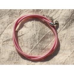 1pc - Collier Tour de cou Soie 3mm Rose clair 46cm 4558550017239