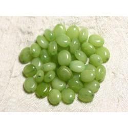 10pc - Perles de Pierre - Jade Ovales 10x8mm Vert Anis - 4558550082114