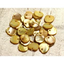 10pc - Perles Breloques Pendentifs Nacre Pommes 12mm Jaune Doré - 4558550004550