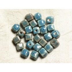 10pc - Perles Céramique Cubes 10mm Perçage 3mm Bleu Turquoise 4558550005861