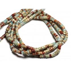 20pc - Perles de Pierre - Jaspe Sédimentaire Aqua Terra Turquoise Rondelles Heishi 4x2mm - 4558550081902