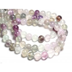 8pc - Perles de Pierre - Fluorite Multicolore Boules 10mm - 4558550081841