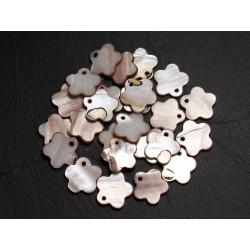 10pc - Perles Breloques Pendentifs Nacre Fleurs 15mm Beige Ivoire - 4558550039965