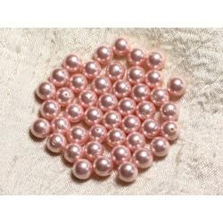 10pc - Perles Nacre Boules 8mm ref C3 Rose Pastel 4558550004093